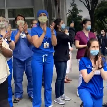 Health care workers cheer for protesters outside New York hospitals