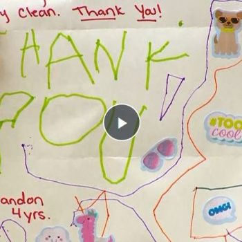 Preschooler Writes Thank You Note to Sanitation Workers